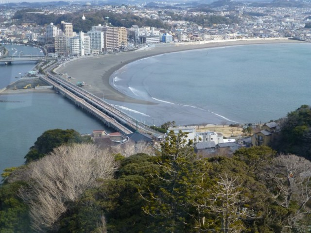 a view from the top of Enoshima island, looking over enospa