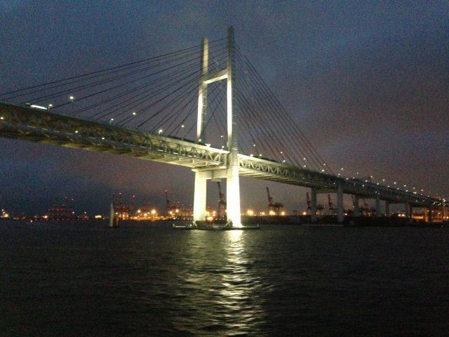 a night shot of the Yokohama bay bridge
